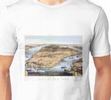 New York Vintage Aerial view Restored 1856 Unisex T-Shirt