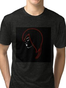 A beautiful girl in a red glowing hair  Tri-blend T-Shirt
