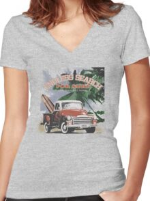 retro surf Women's Fitted V-Neck T-Shirt