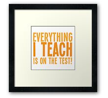 EVERYTHING I teach is on the test Framed Print