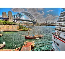 Big ship & little ship on our beautiful harbour .. in HDR Photographic Print