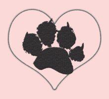 Paw Print In Heart 1 Kids Tee