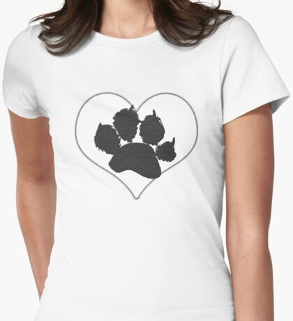 Paw Print In Heart 1 Womens Fitted T-Shirt