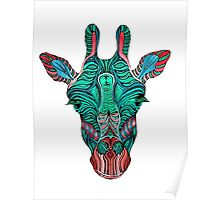 Psychedelic Giraffe - red variant Poster
