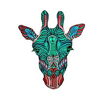 Psychedelic Giraffe - red variant Photographic Print