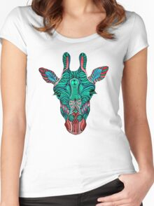 Psychedelic Giraffe - red variant Women's Fitted Scoop T-Shirt