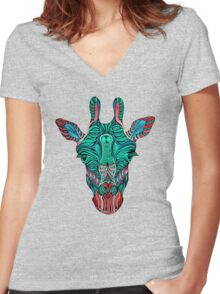 Psychedelic Giraffe - red variant Women's Fitted V-Neck T-Shirt