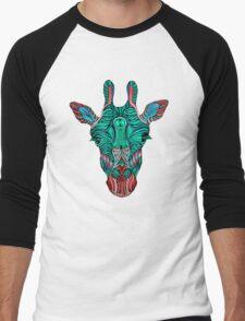 Psychedelic Giraffe - red variant Men's Baseball ¾ T-Shirt