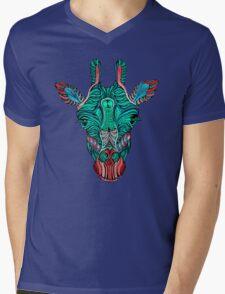 Psychedelic Giraffe - red variant Mens V-Neck T-Shirt