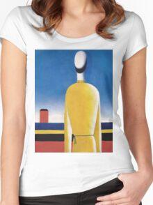 Kazemir Malevich - Half-Figure In Yellow Shirt Women's Fitted Scoop T-Shirt