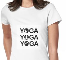 Yoga text with silhouette of people  Womens Fitted T-Shirt