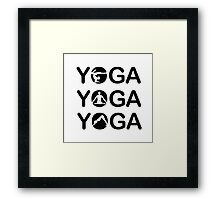 Yoga text with silhouette of people  Framed Print