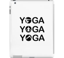 Yoga text with silhouette of people  iPad Case/Skin