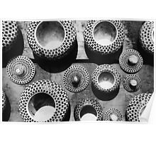 Black and white abstract pattern; beautiful traditional bowls Poster