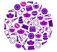 Cosmetic design elements and icons : purple vintage design only in our Designers Shop Photographic Print