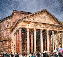 Ancient Roman Pantheon In The Rain by Mark Tisdale