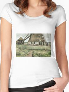 Vincent Van Gogh -  Mill, 1881-82 Women's Fitted Scoop T-Shirt