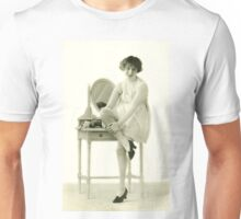 A portrait of a 20s flapper girl sitting next to her dressing table Unisex T-Shirt