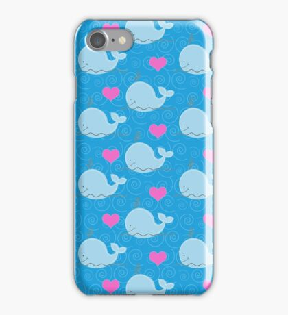 Little Blue Whales with Pink Hearts iPhone Case/Skin