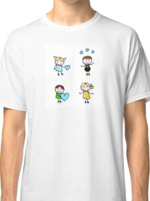 Vector Illustration of doodle retro kids isolated on white Classic T-Shirt