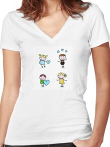 Vector Illustration of doodle retro kids isolated on white Women's Fitted V-Neck T-Shirt