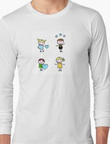Vector Illustration of doodle retro kids isolated on white Long Sleeve T-Shirt