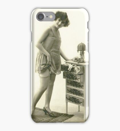 A 1920s Flapper Girl standing next to a set of drawers  iPhone Case/Skin