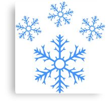 Blue Snowflake Pawprint Canvas Print