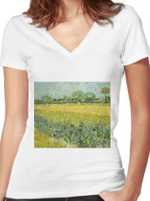Vincent Van Gogh - Field With Flowers Near Arles, 1888  Women's Fitted V-Neck T-Shirt