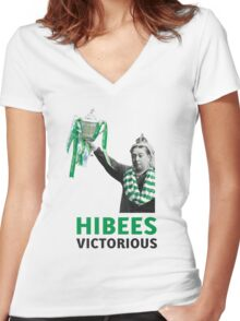 Hibs Scottish Cup Women's Fitted V-Neck T-Shirt