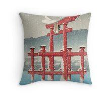 Kawase Hasui - Miyajima In Snow (Miyajima, Setchu) Throw Pillow