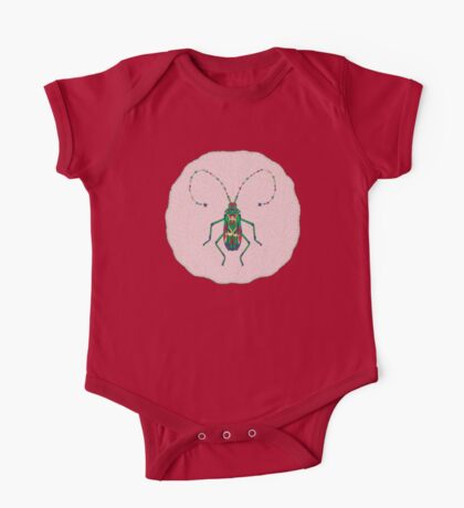 Green Insect Design One Piece - Short Sleeve