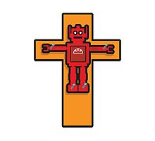 Robot Cruxifiction Photographic Print