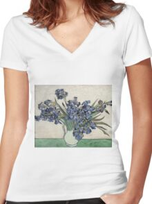 Vincent Van Gogh - Irises 2 Women's Fitted V-Neck T-Shirt