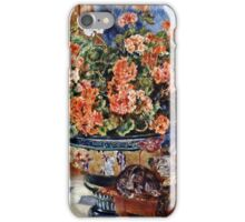Renoir Auguste - Geraniums And Cats  iPhone Case/Skin