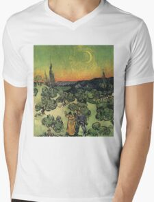 Vincent Van Gogh - Landscape With Couple Walking And Crescent Moon, 1890 Mens V-Neck T-Shirt
