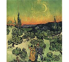 Vincent Van Gogh - Landscape With Couple Walking And Crescent Moon, 1890 Photographic Print
