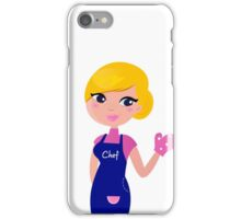 Cute blond Chef woman isolated on white iPhone Case/Skin