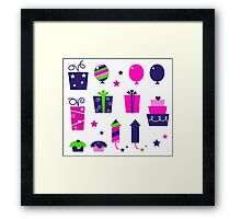 Cute icons collection in vibrant tones : birthday original gift collection Framed Print