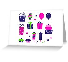Cute icons collection in vibrant tones : birthday original gift collection Greeting Card