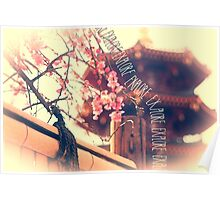 Explore Plum Blossoms Pagoda Bamboo Fence Poster