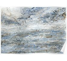 Abstract Seascape in Grey and Blue Poster