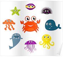Underwater creatures and animals set Poster