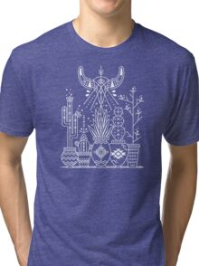 Santa Fe Garden – White Ink on Black Tri-blend T-Shirt