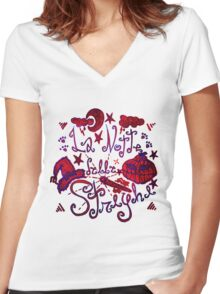 The night of witches Women's Fitted V-Neck T-Shirt