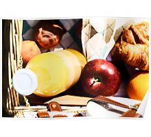 Picnic Basket With Orange Juice Bottle, Apples, Peaches, Oranges And Croissants On Green Grass In Spring Poster