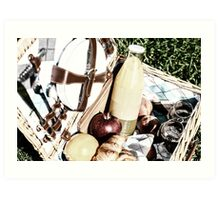 Picnic Basket With Orange Juice Bottle, Apples, Peaches, Oranges And Croissants On Green Grass In Spring Art Print