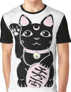 Lucky Cat Black Graphic T-Shirt