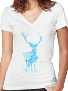 Prongs Stag Patronus Women's Fitted V-Neck T-Shirt