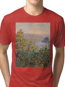 Claude Monet - Flower Beds at Vetheuil (1881)  Tri-blend T-Shirt